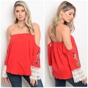 OFF SHOULDER RED TOP WITH EMBROIDERED SLEEVES